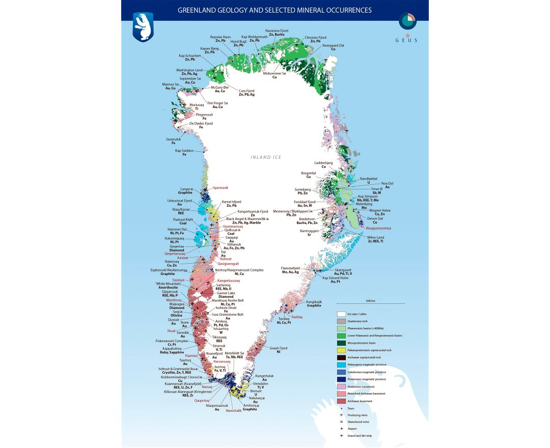 Large detailed Greenland geology and selected mineral occurrences map