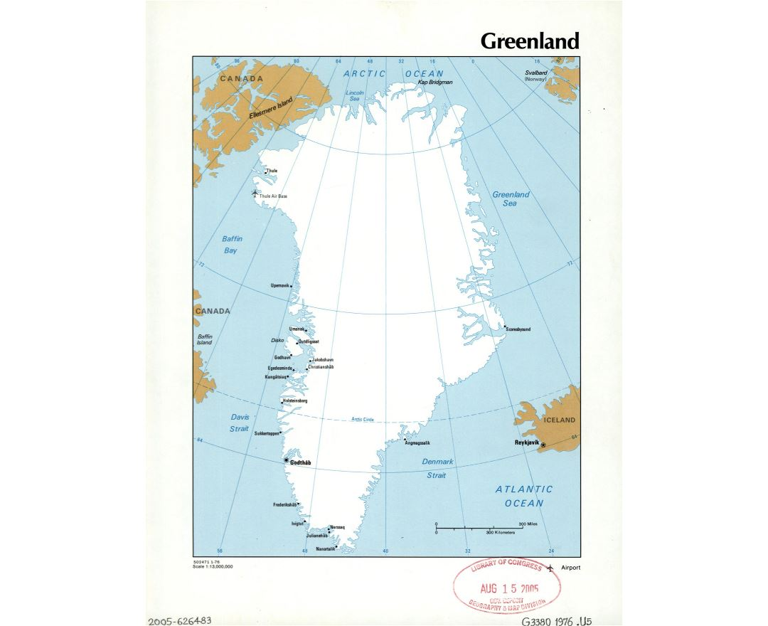 Large detailed political map of Greenland with cities and airports - 1976