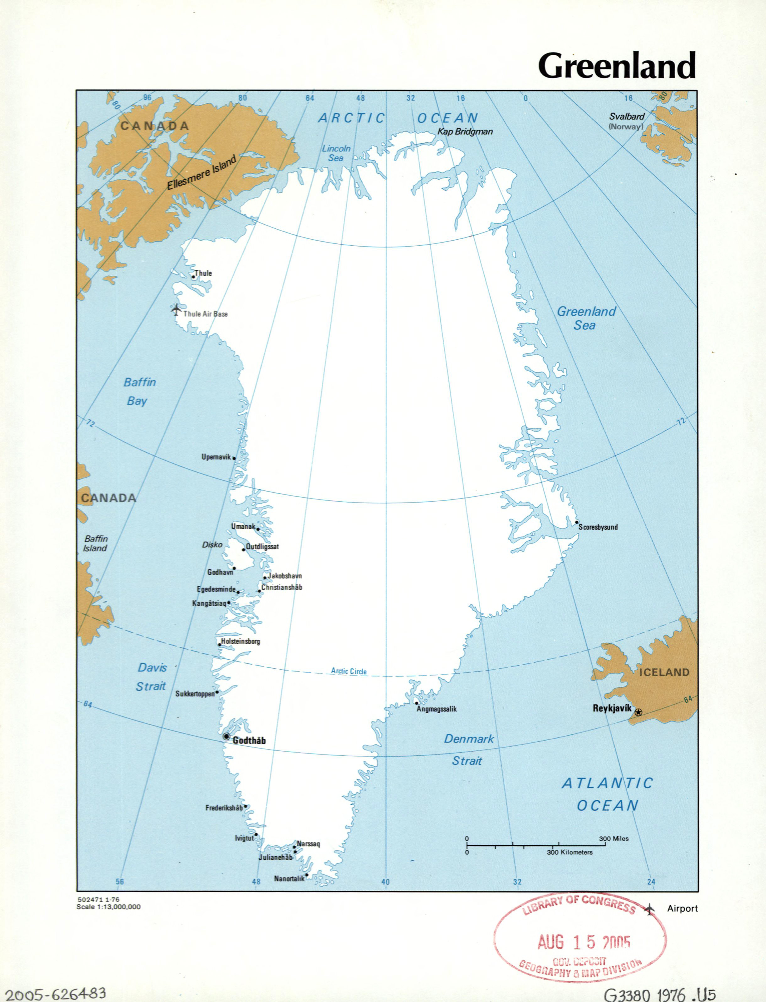 Large Detailed Political Map Of Greenland With Cities And Airports - Greenland map