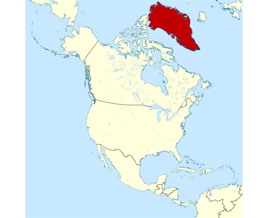 Large location map of Greenland in North America