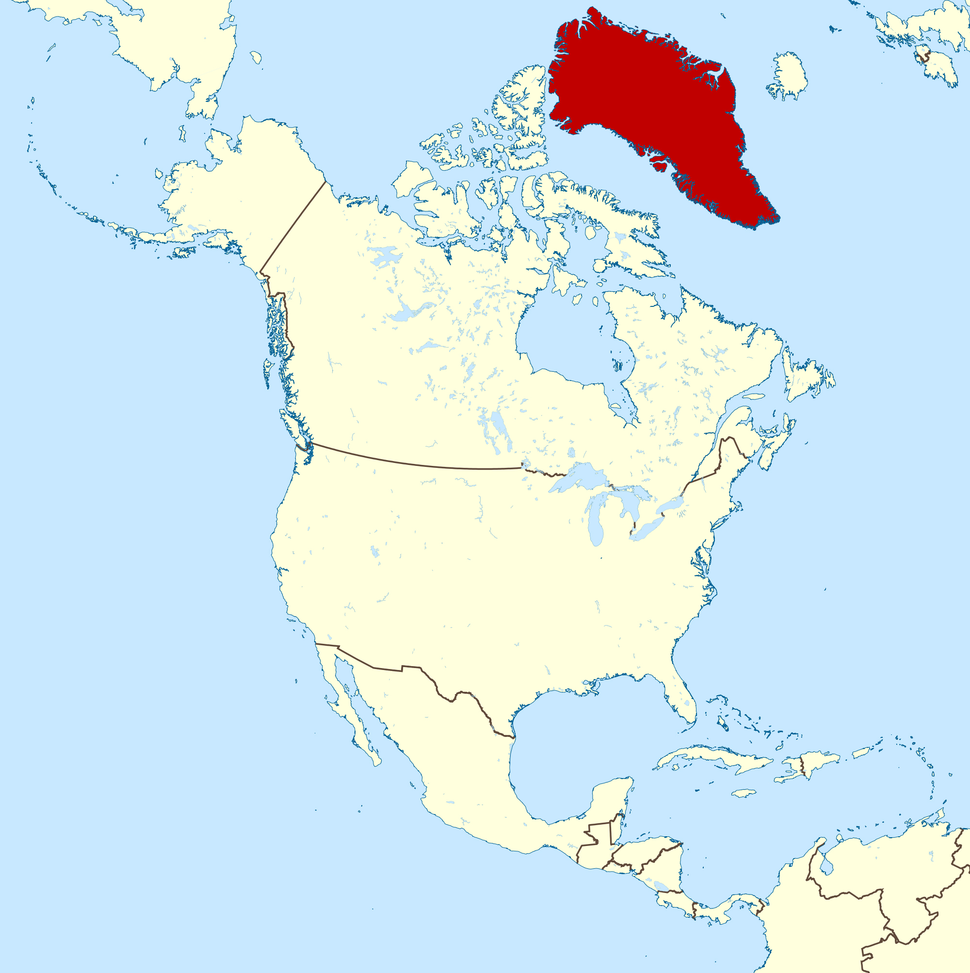 Large location map of Greenland in North America | Greenland | North ...