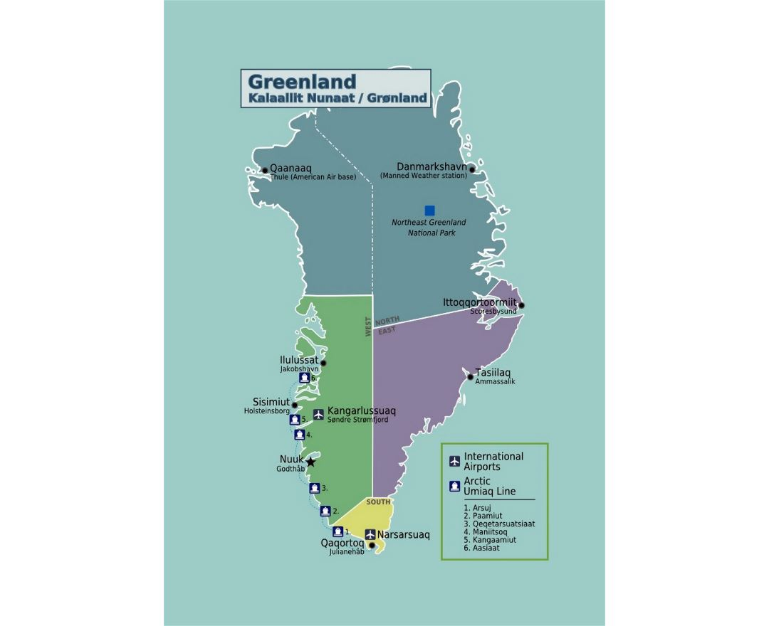 Maps of Greenland Detailed map of Greenland in English Tourist