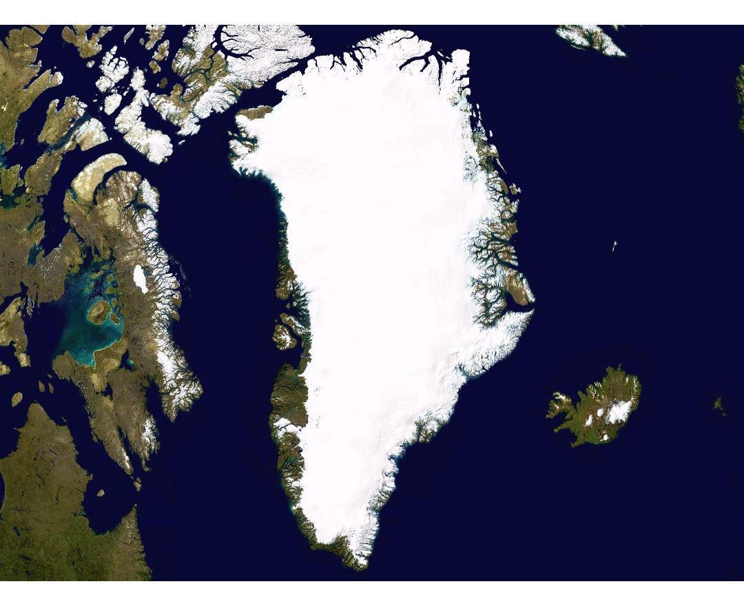 Large satellite map of Greenland