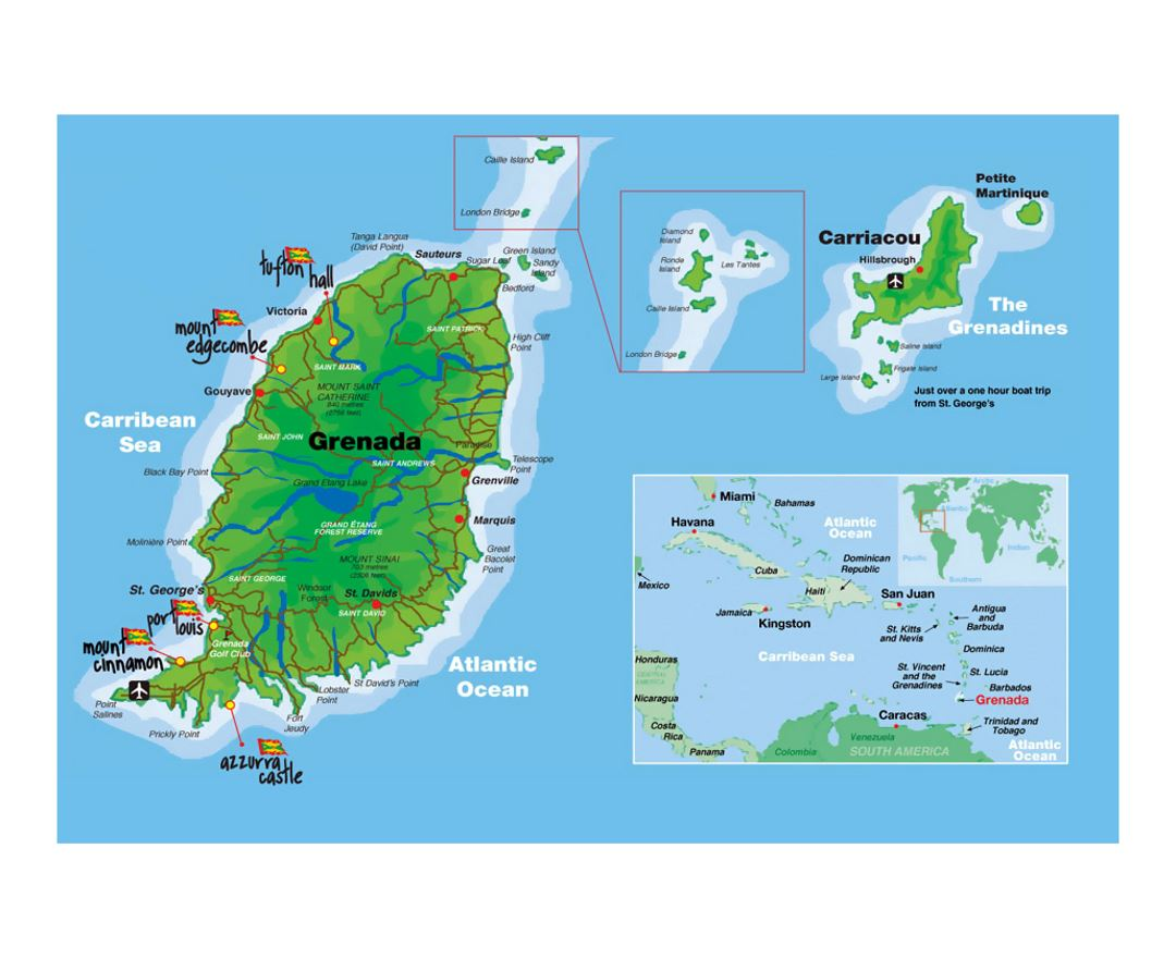 Detailed map of Grenada with airports and other marks