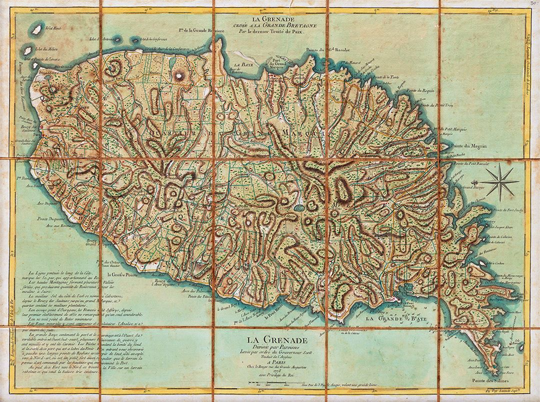 Detailed old map of Grenada - 1778