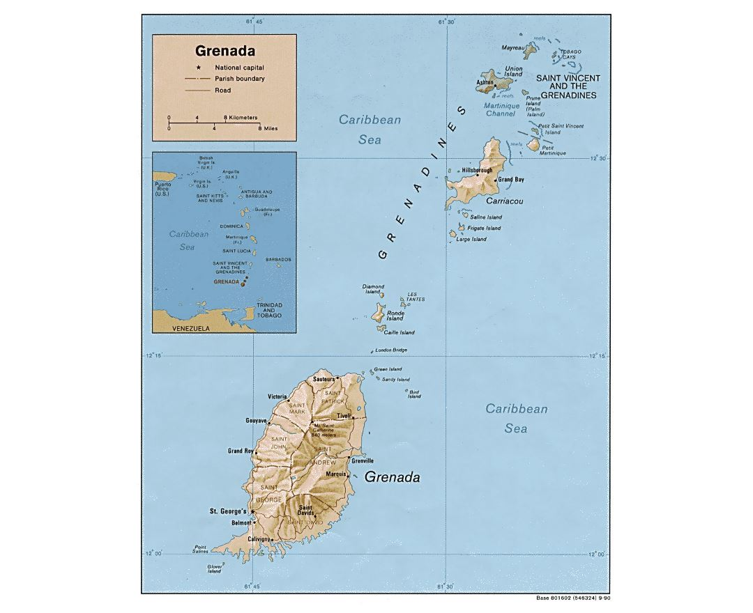 Detailed political and administrative map of Grenada with relief, roads and cities - 1990