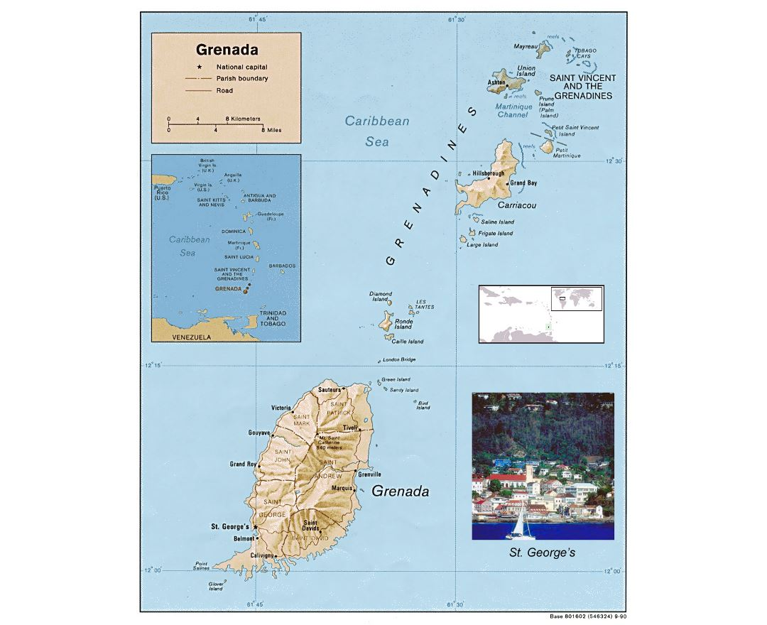 Detailed political and administrative map of Grenada with relief, roads and cities