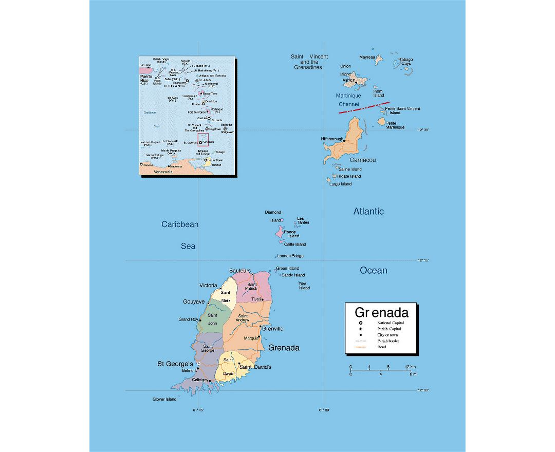 Detailed political and administrative map of Grenada with roads and cities