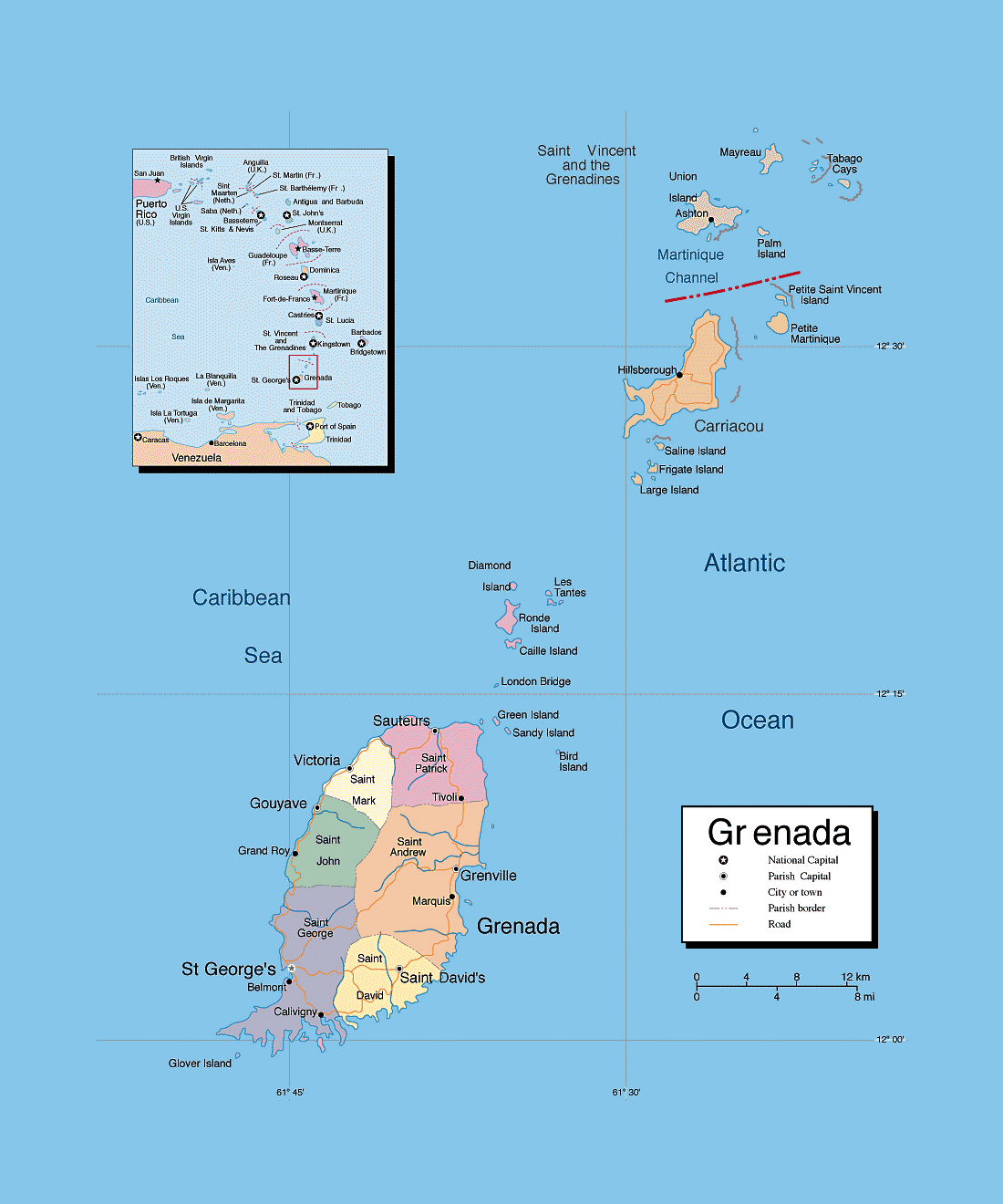 Detailed political and administrative map of Grenada with roads and
