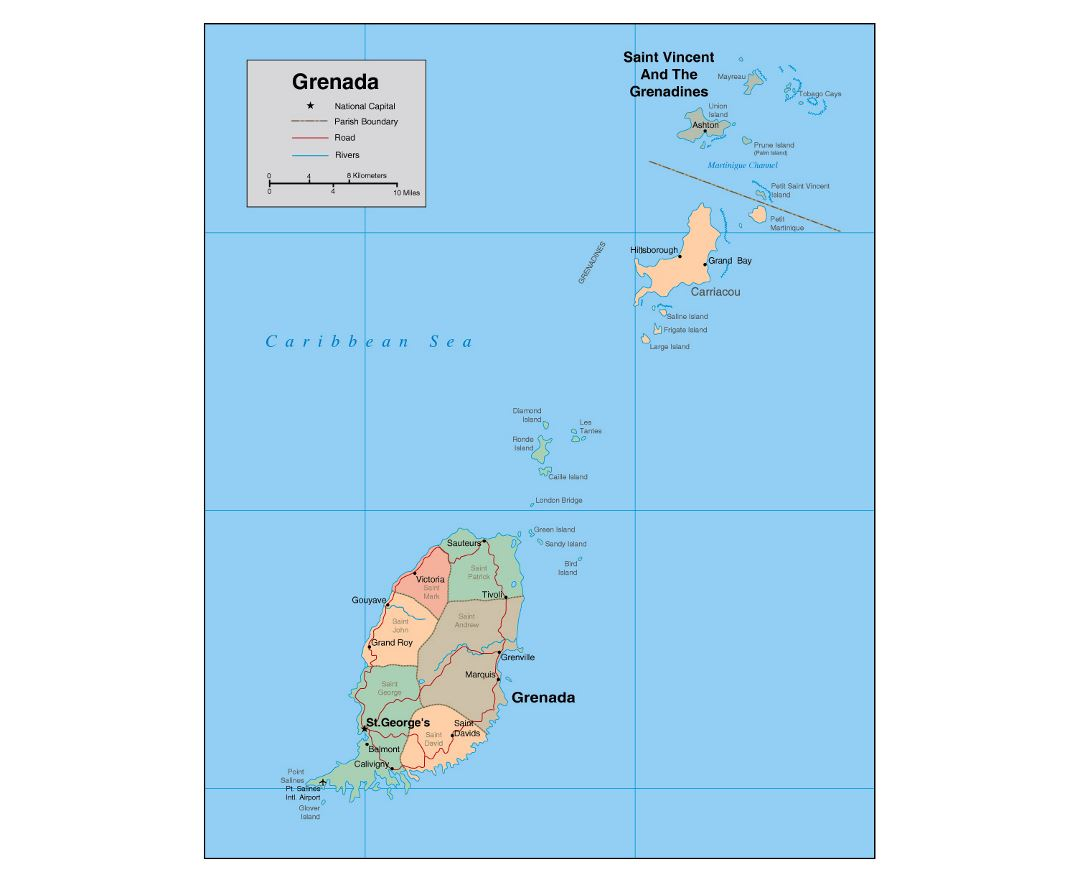 Detailed political and administrative map of Grenada with roads, rivers, airports and major cities