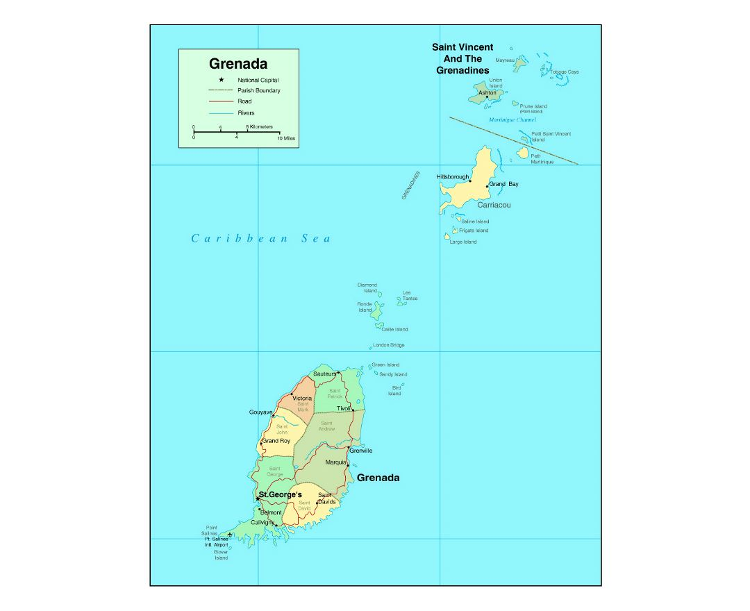 Detailed political and administrative map of Grenada with roads, rivers and major cities