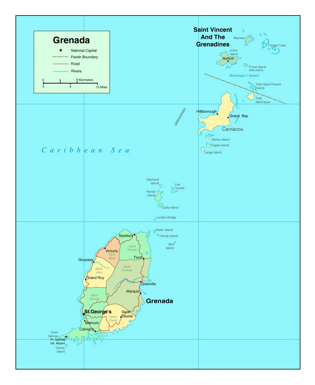 Detailed Political And Administrative Map Of Grenada With Roads - Map of grenada world