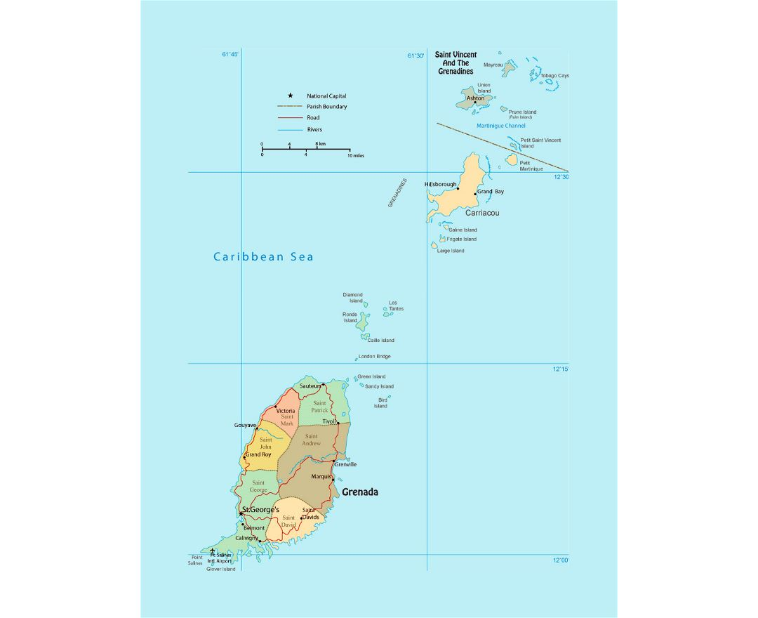 Detailed political and administrative map of Grenada with roads, rivers, cities and airports