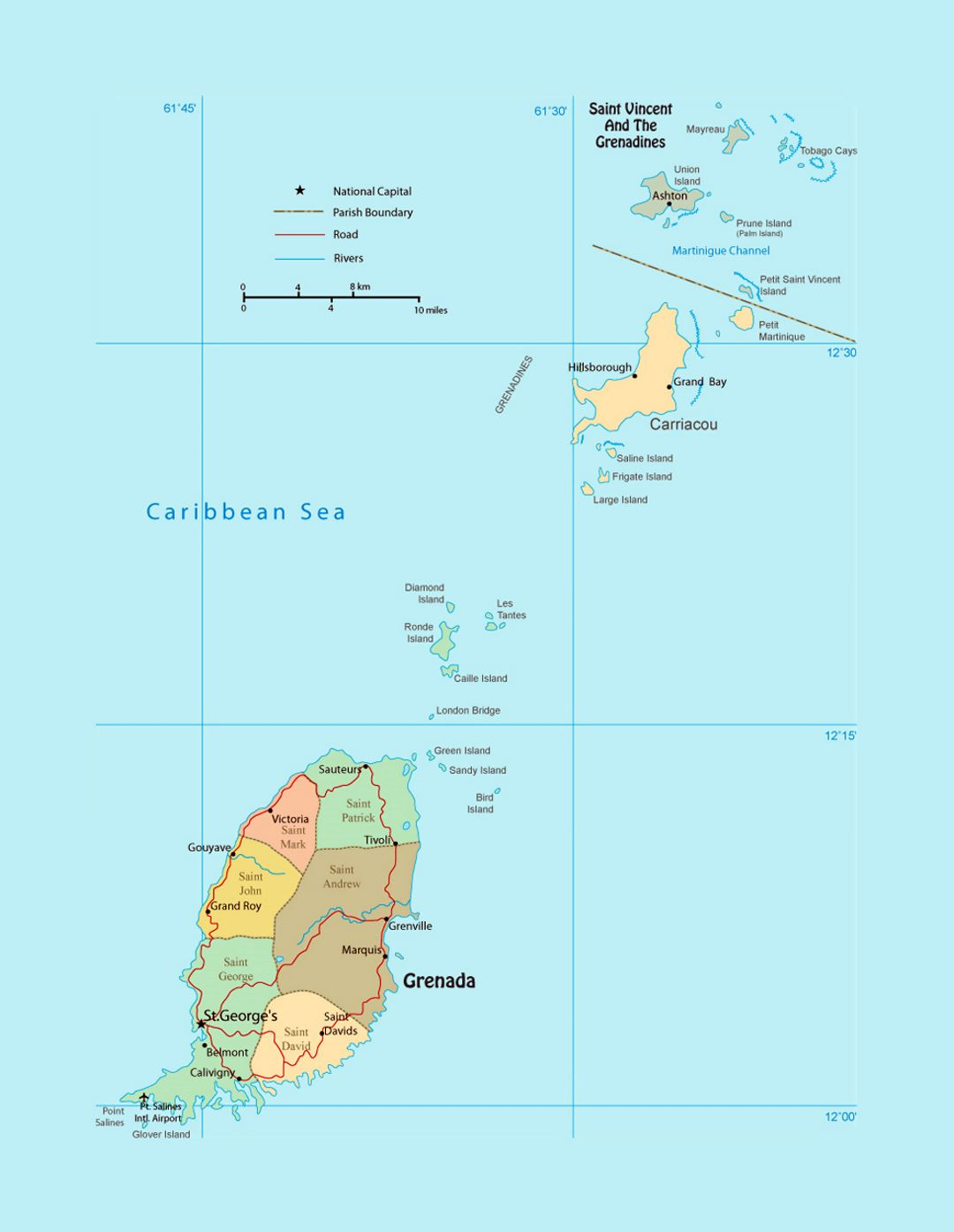 Detailed political and administrative map of Grenada with roads