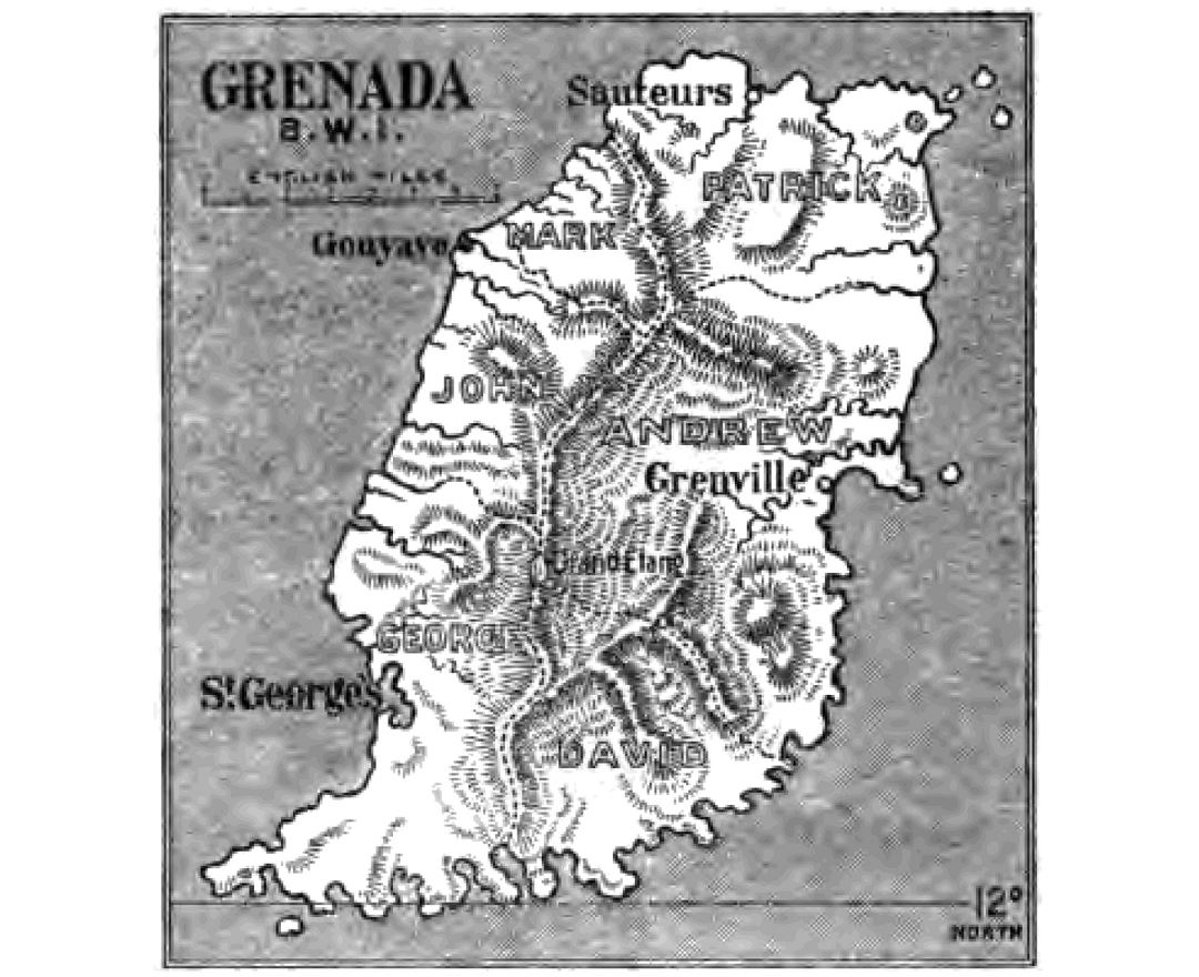 Large detailed old map of Grenada with relief - 1903