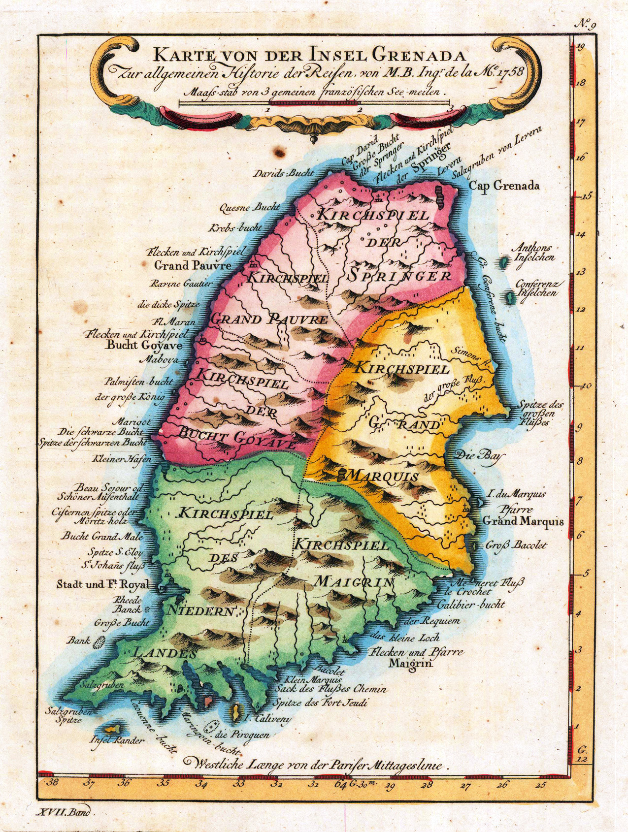 Large detailed old map of Grenada with relief and other marks 1756
