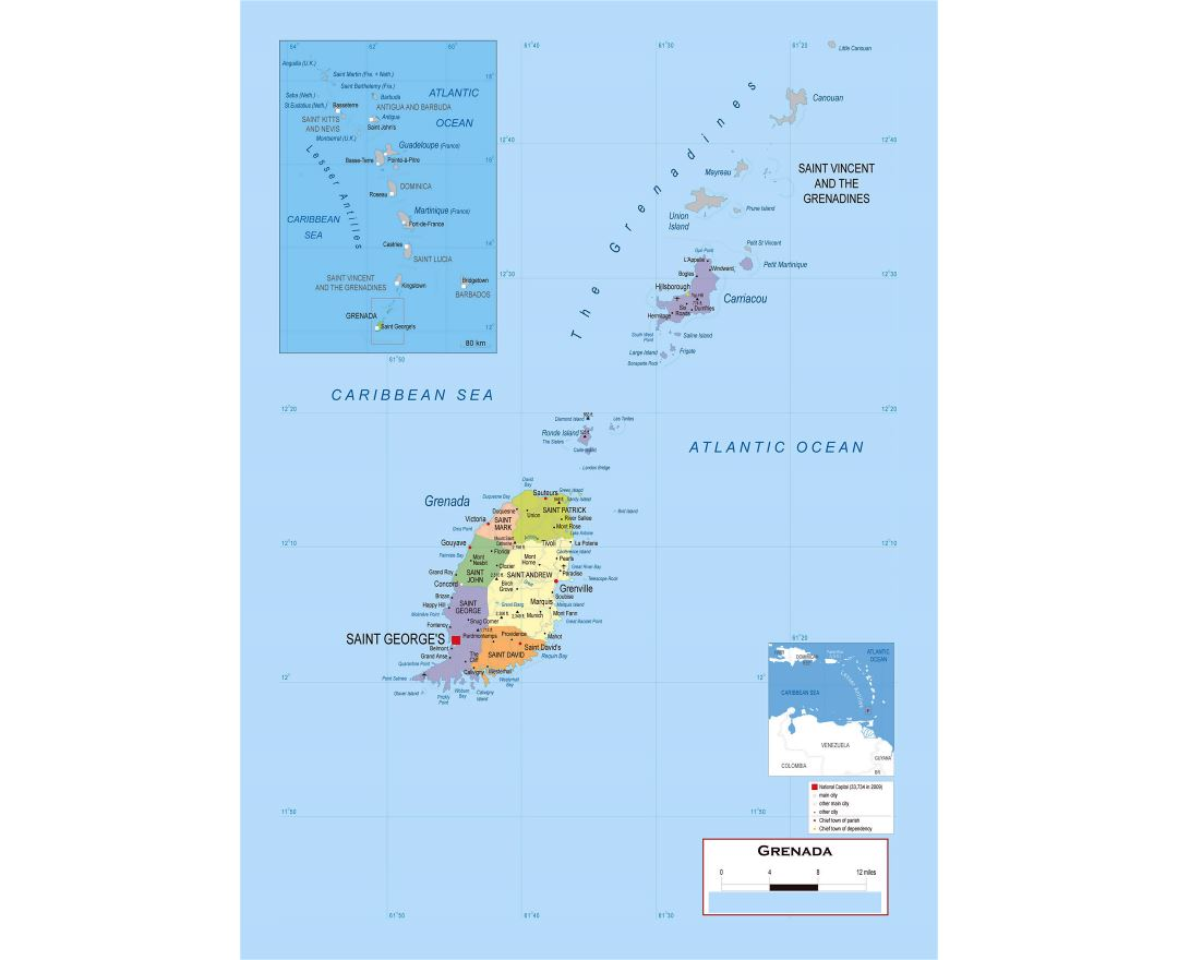 Large detailed political and administrative map of Grenada with roads, cities and airports