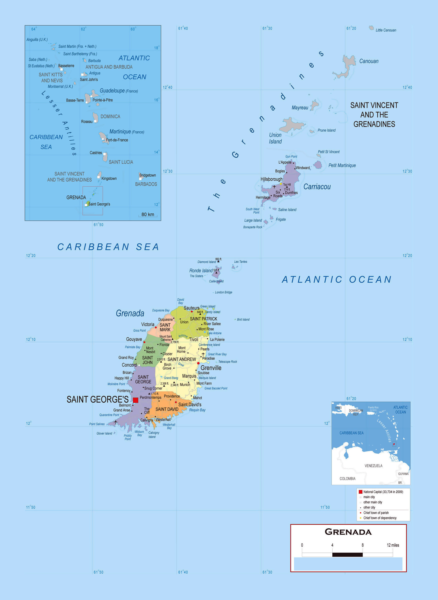Large detailed political and administrative map of Grenada with