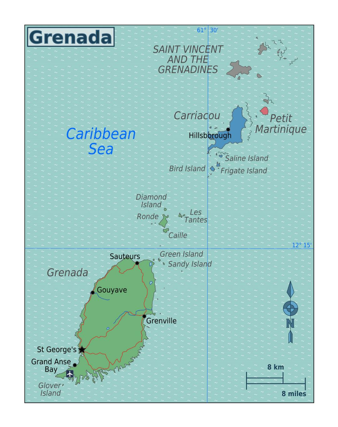 Large map of Grenada with other marks