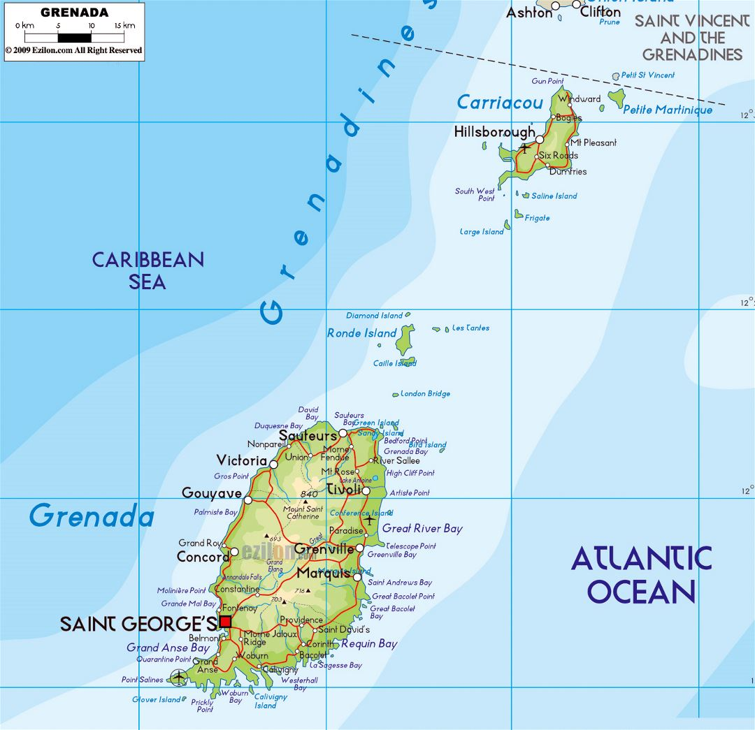 Large physical map of Grenada with roads, cities and airports
