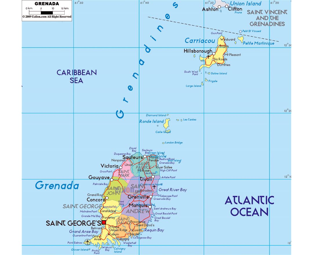 Large political and administrative map of Grenada with roads, cities and airports