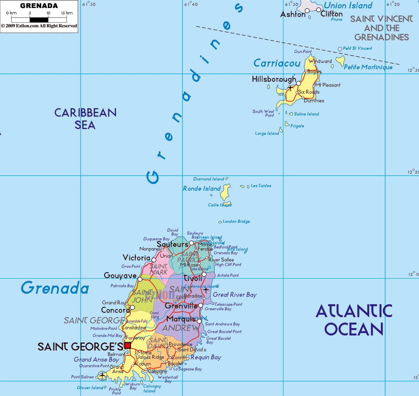 Large political and administrative map of Grenada with roads cities
