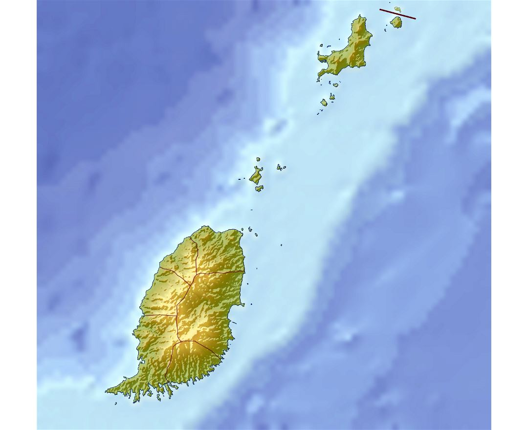 Large relief map of Grenada