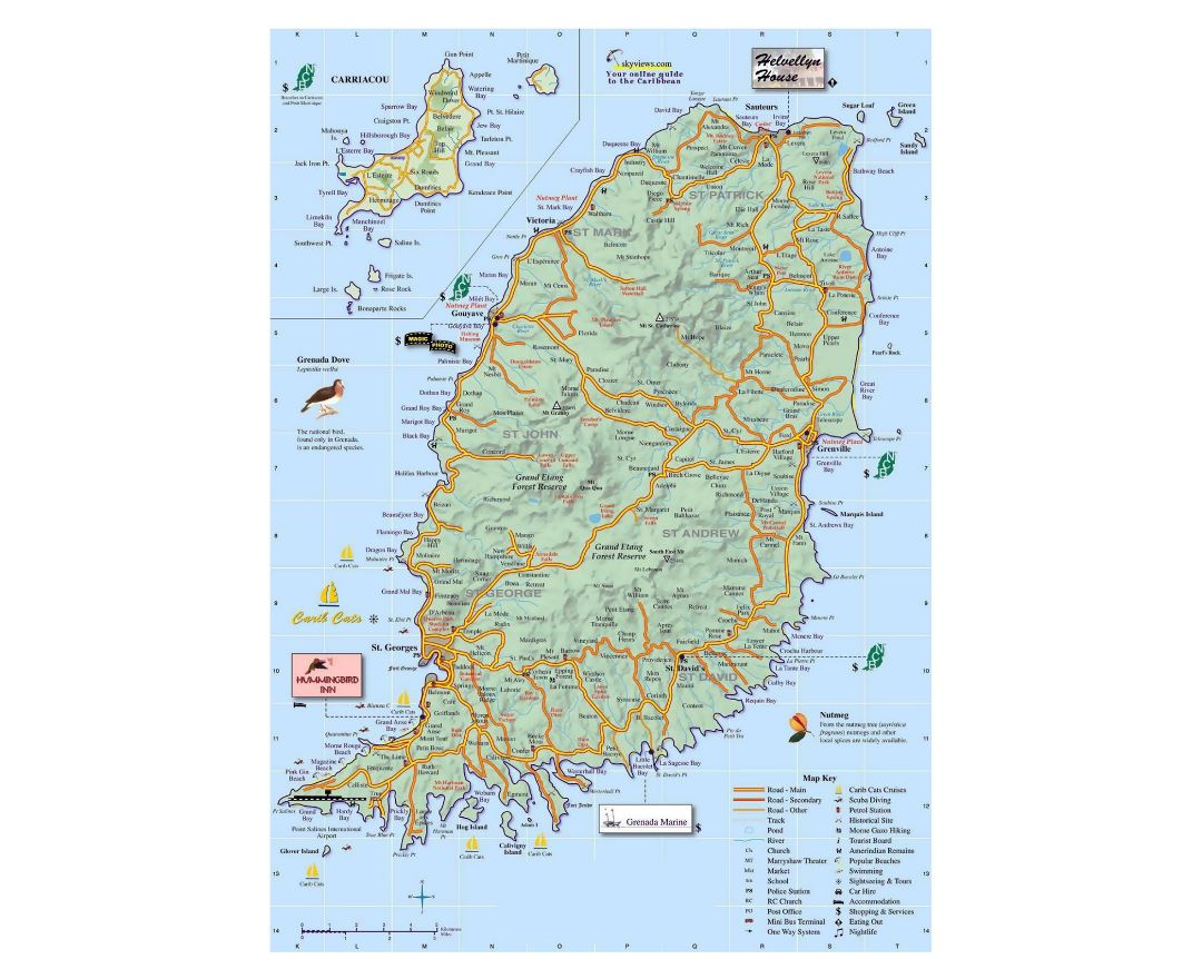 Maps of grenada detailed map of grenada in english tourist map large travel map of grenada with other marks sciox Choice Image