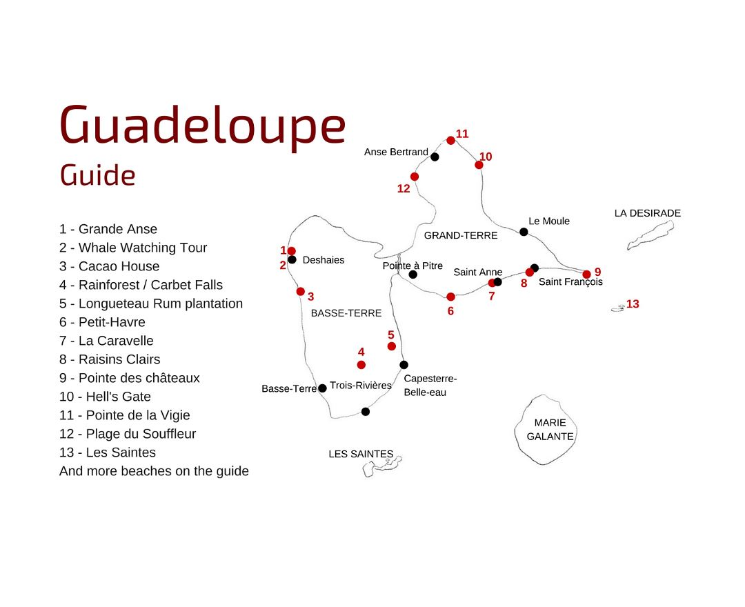 Detailed guide map of Guadeloupe