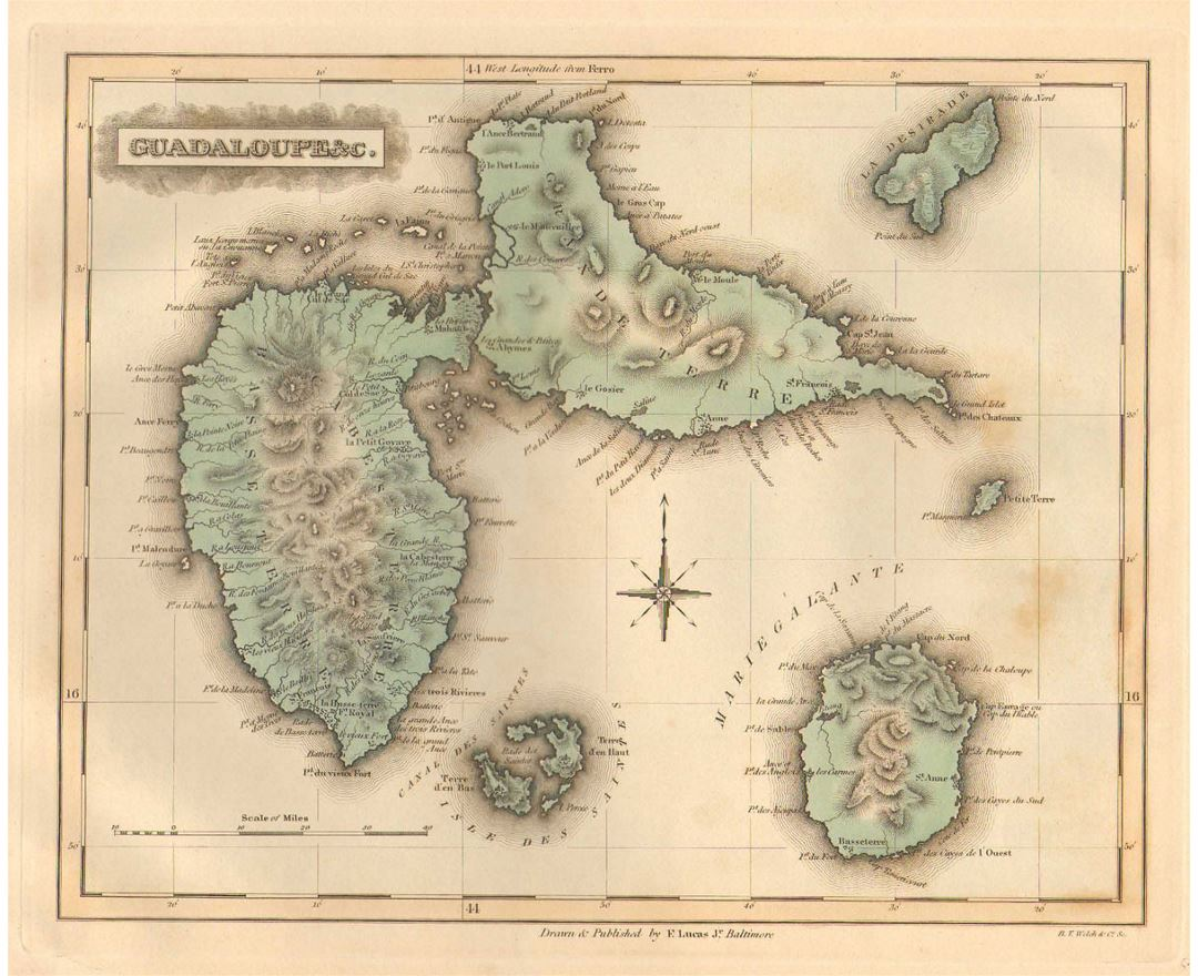 Detailed old map of Guadeloupe with relief