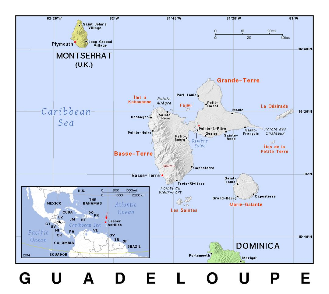 Detailed political map of Guadeloupe with relief
