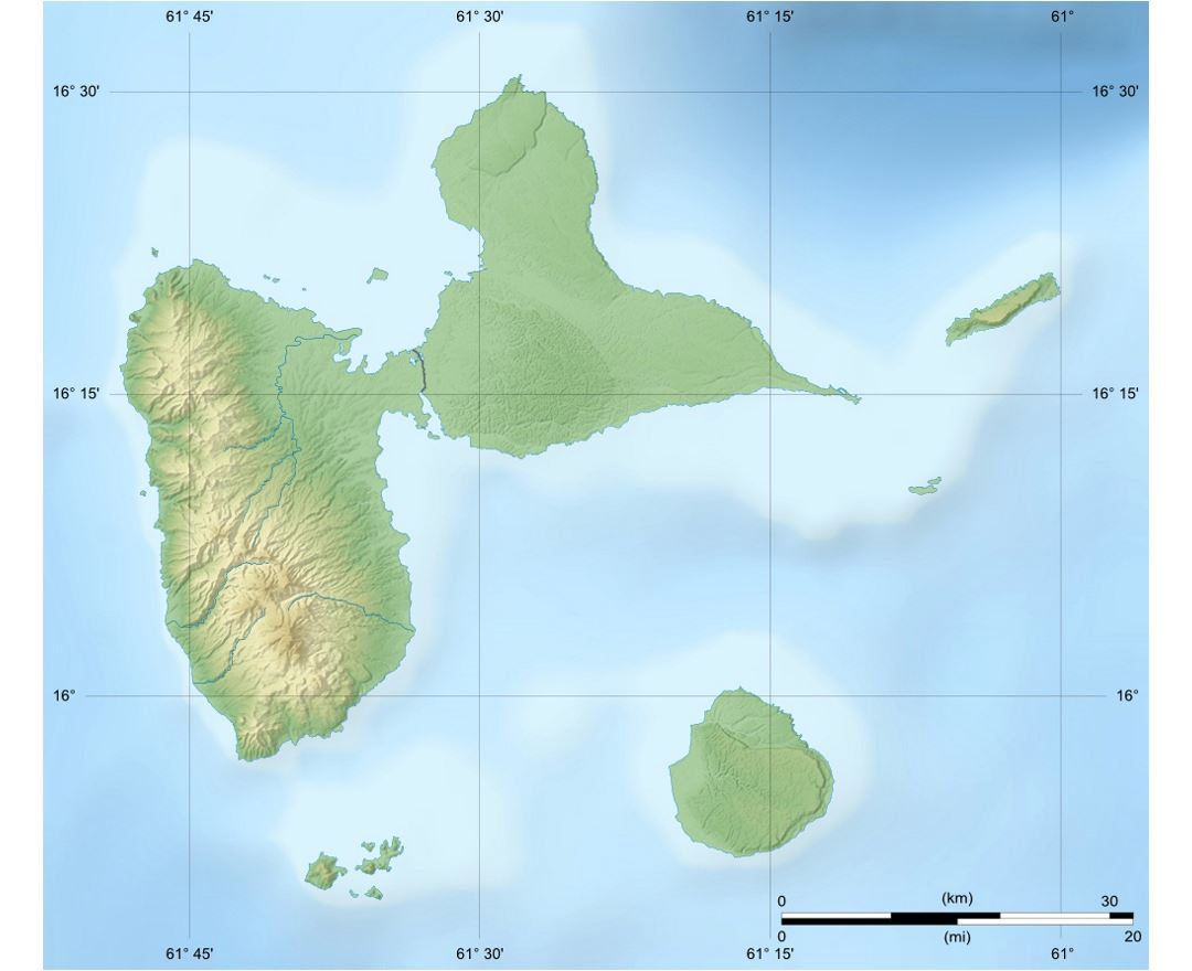 Detailed relief map of Guadeloupe