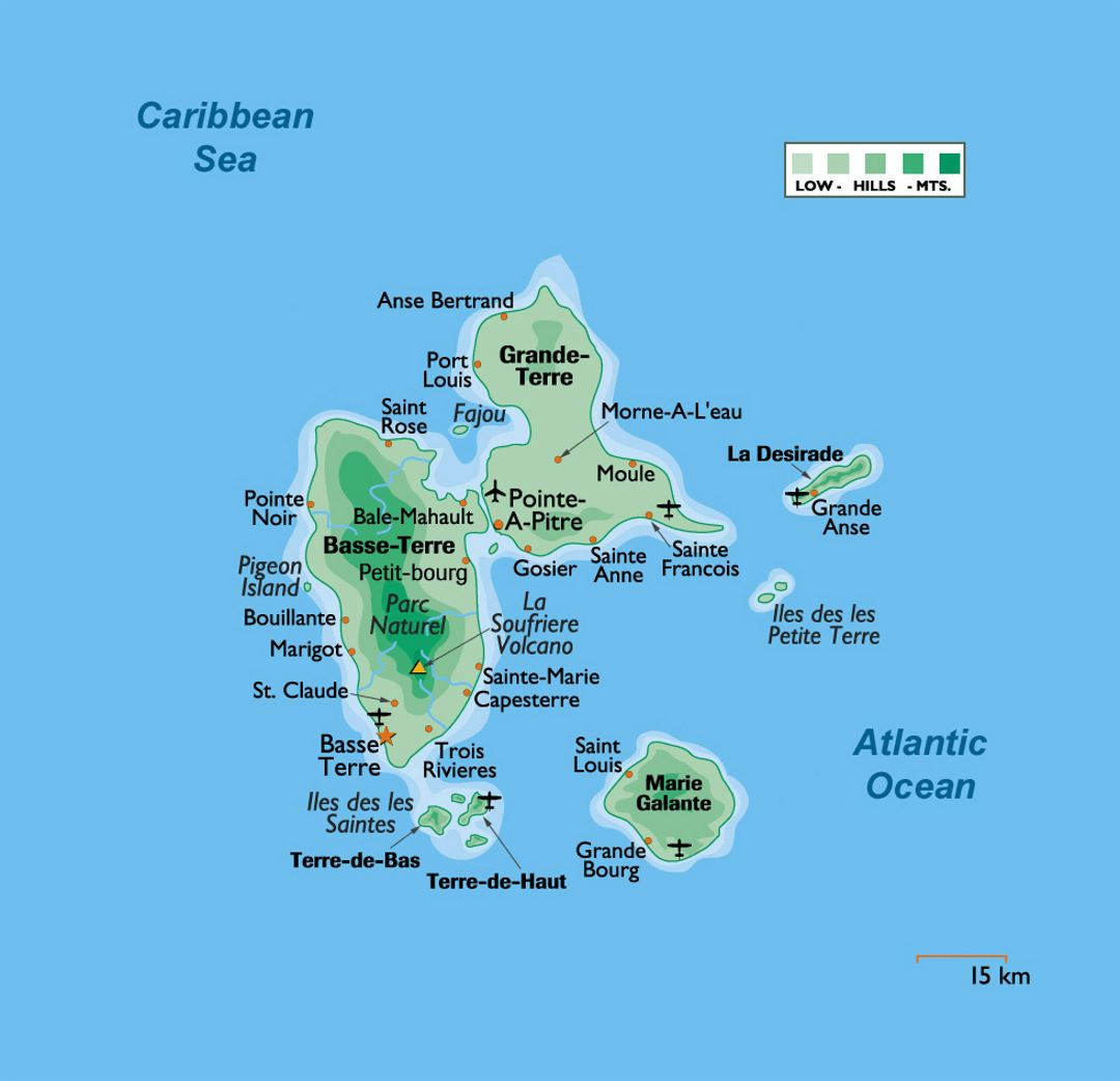 Elevation Map Of Guadeloupe With Cities And Airports Guadeloupe - World airports map
