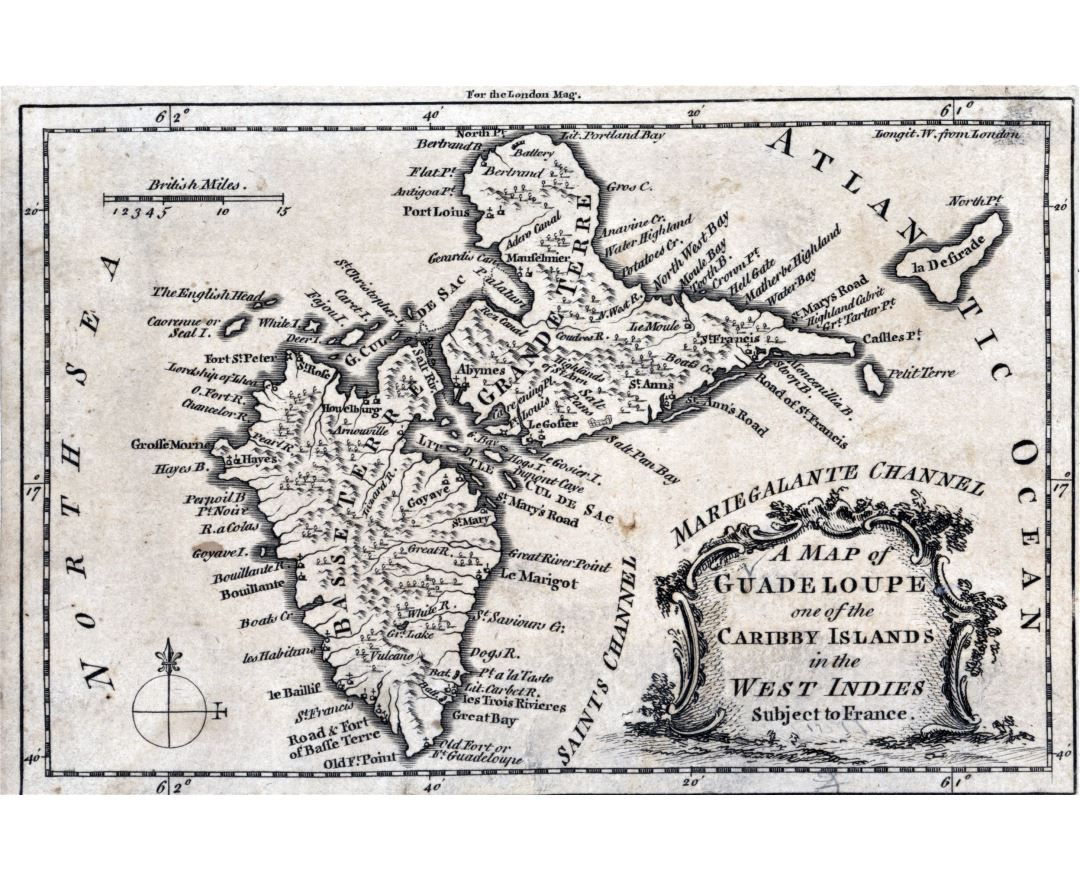 Large detailed old map of Guadeloupe - 1759