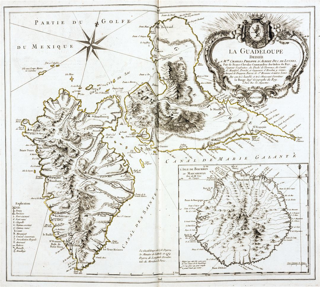 Large detailed old map of Guadeloupe with relief and other marks - 1759