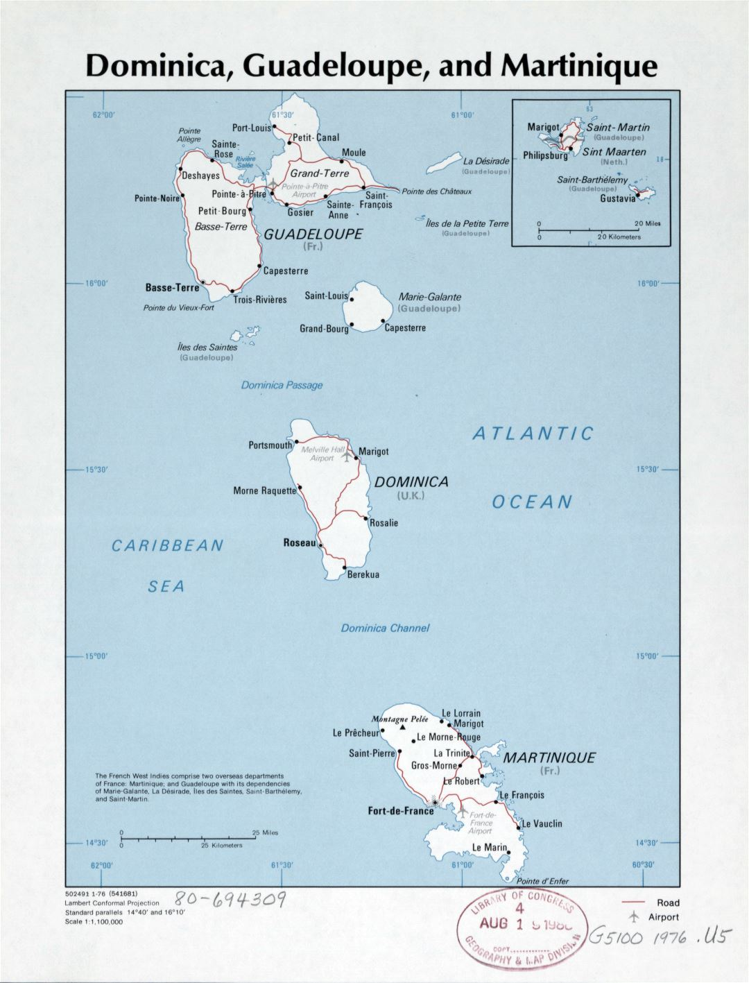 Large detailed political map of Dominica, Guadeloupe and Martinique with roads, cities and airports - 1976