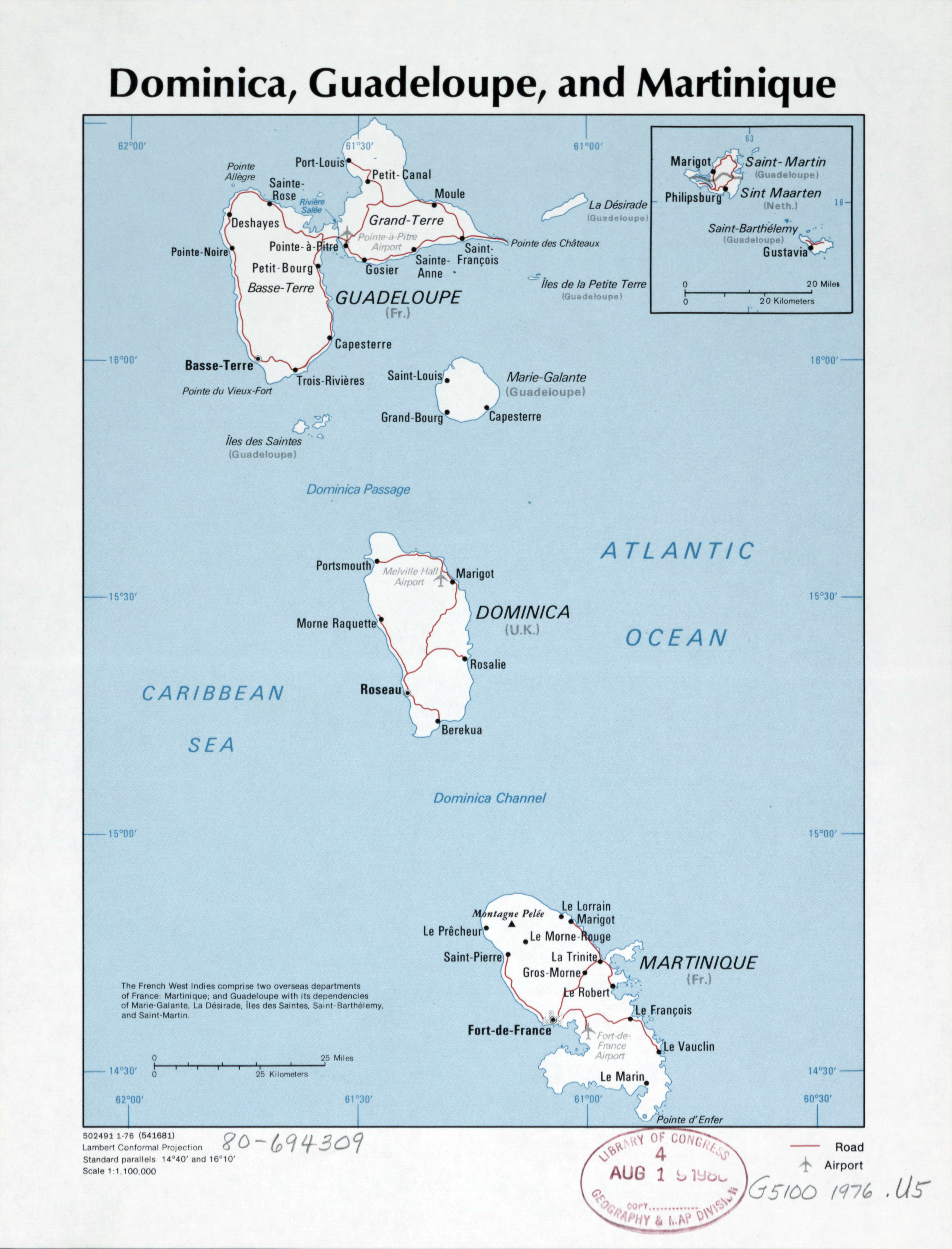 Large detailed political map of Dominica Guadeloupe and Martinique