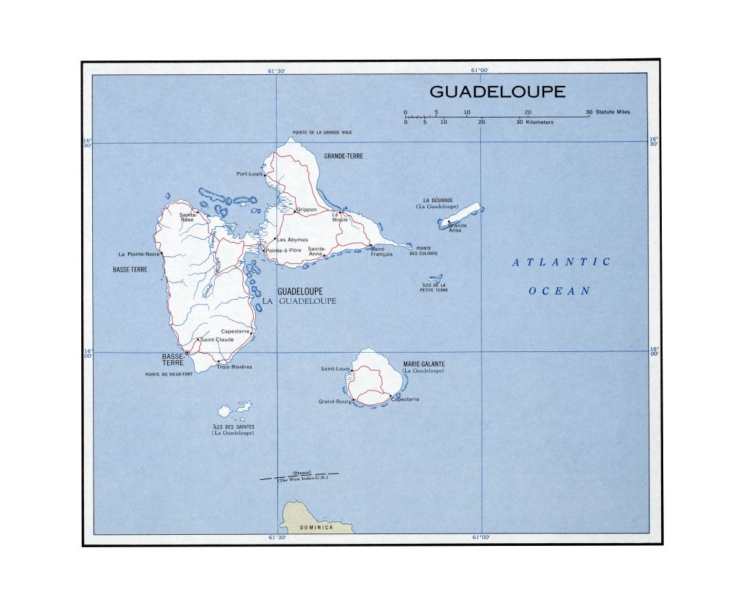 Large detailed political map of Guadeloupe with roads and cities - 1960