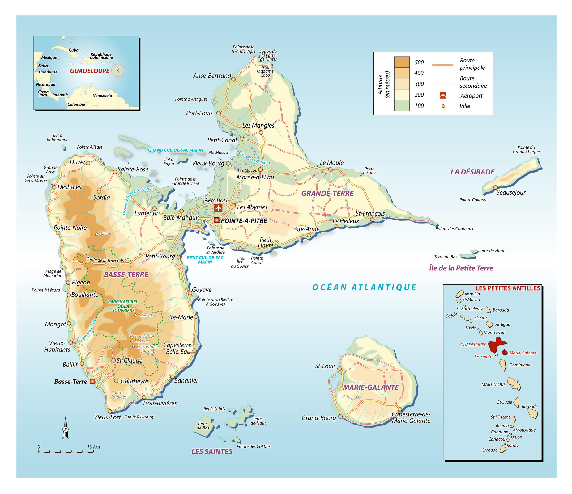 large elevation map of guadeloupe with roads cities and other marks. large elevation map of guadeloupe with roads cities and other