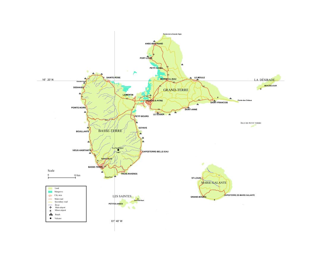 Large map of Guadeloupe with other marks
