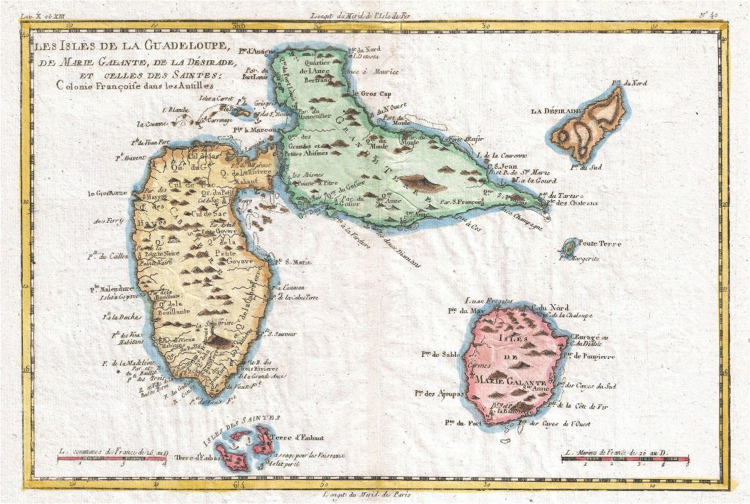 Large old map of Guadeloupe with relief and other marks - 1780