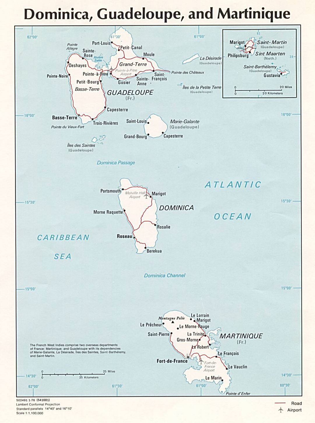 Large political map of Dominica, Guadeloupe and Martinique with roads, cities and airports - 1976