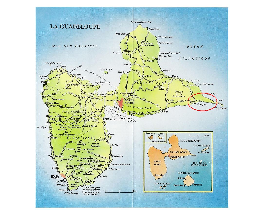 Large road map of Guadeloupe with cities and airports