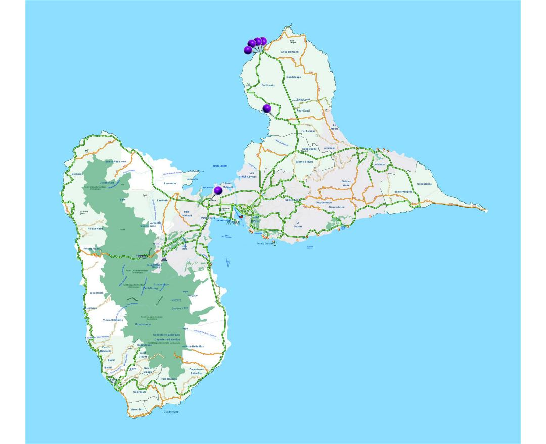 Large road map of Guadeloupe with other marks