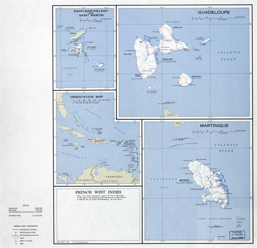 Large scale political map of French West Indies - 1960