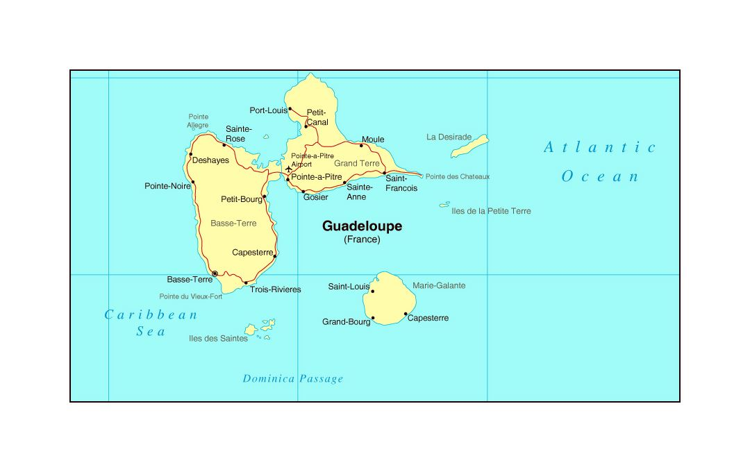 Map of Guadeloupe with roads, cities and airports