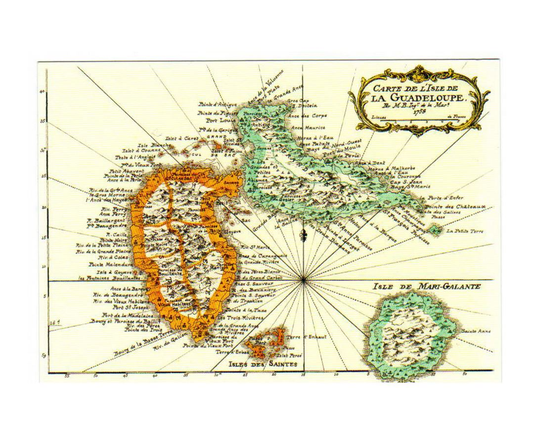 Old map of Guadeloupe