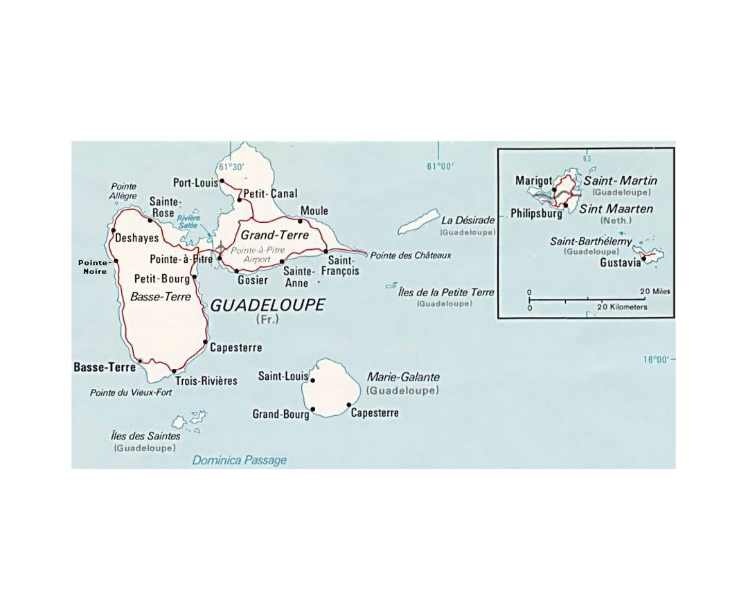 Political map of Guadeloupe with roads, cities and airports