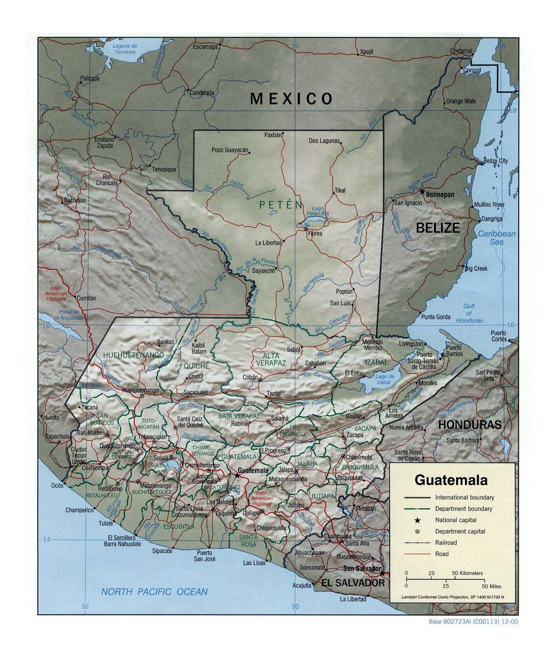 Detailed political and administrative map of Guatemala with relief, roads, railroads and major cities - 2000