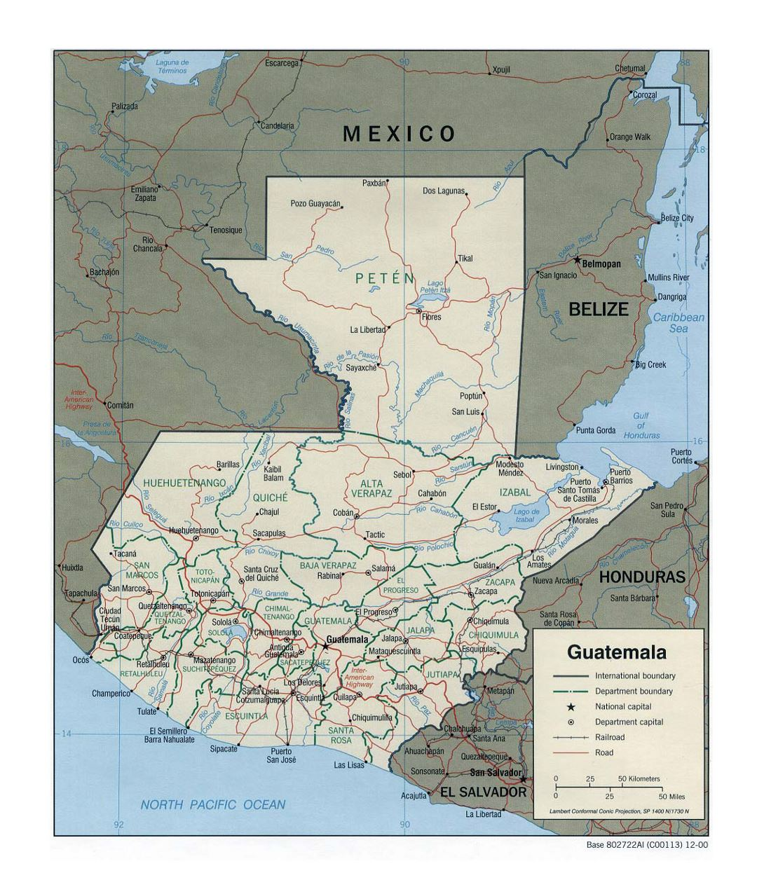 Detailed political and administrative map of Guatemala with roads, railroads and major cities - 2000